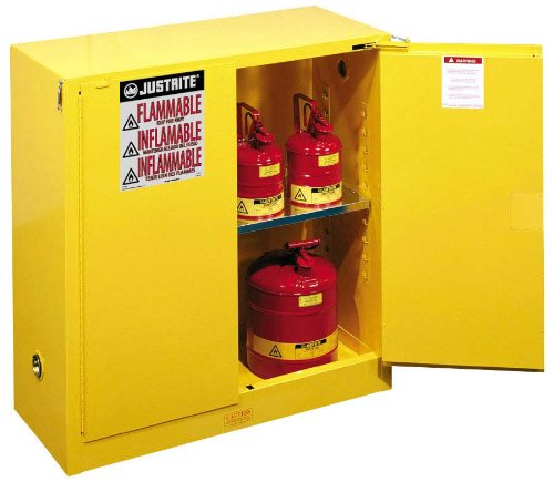 Justrite 893020 Sure-Grip EX Flammable Safety Cabinet, 2 Door, Self Closing, Dimensions (H x W x D): 44 x 43 x 18 inch (1118 x 1092 x 457 mm); 30 gal. (114L) by Justrite