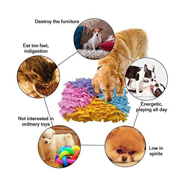 Dog Snuffle Mat Large,Small Big Dog Feeding Mat Training Pad Pet Nose Work Blanket Non Slip Pet Activity Mat for Foraging Skill, Stress Release(4545cm) 4