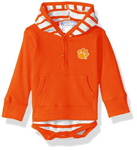 (Two Feet Ahead NCAA Clemson Tigers Children Unisex Stripe Hooded Creeper,6Mo,Orange)