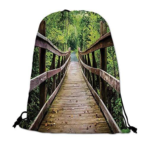 Apartment Decor Lightweight Drawstring Bag,Rustic Wooden Walking Bridge Limberlost Trail in Shenandoah National Park Virginia Decorative for Travel Shopping,One_Size