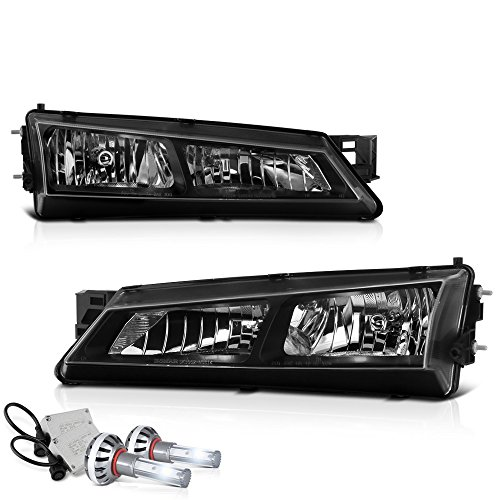 - [Built-In CSP LED Low Beam] VIPMOTOZ Headlight Assembly For 1997-1998 Nissan S14 240SX - Matte Black Housing, Driver and Passenger Side