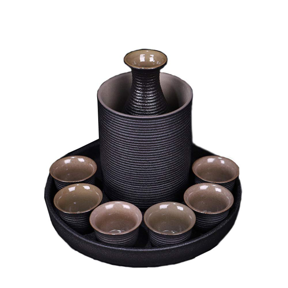 YSYDE 9 Piece Set Japanese Ceramic Sake Cup Set with, Non Slip Tasteless Not Fade, for Tea Party or Just As A Home Decoration, Also Can Be A