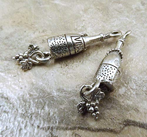 3 Pewter Wine Bottle Charms with Dangling Grapes - 5444 for Jewelry Making Bracelet Necklace DIY Crafts