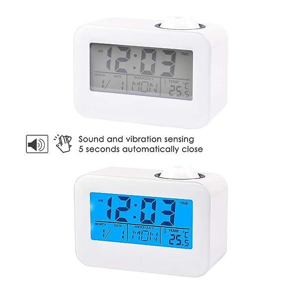 Haofy Radio Despertador Digital con Proyector Pantalla LCD Control de Voz: Amazon.es: Hogar