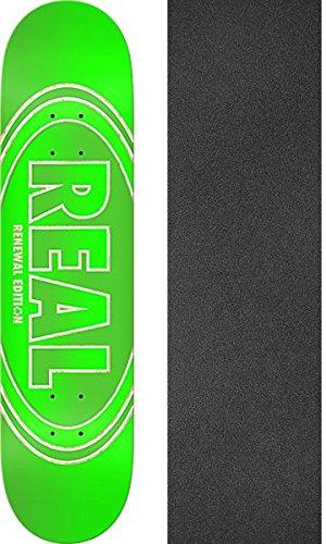 すぐにグリーンランド誰もReal SkateboardsクロスフェードRenewalグリーンスケートボードデッキ – 8.06 X 31.8 CMでJessup Griptape – 2アイテムのバンドル