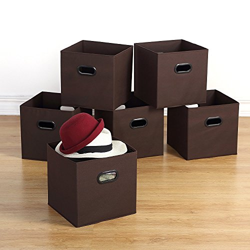 "Browns Collapsible - Housen Solutions Storage Bins - Collapsible Storage Cube Organizer, Nonwoven Basket Container Fabric Drawers Set of 6, Brown 12"", Dual Plastic Handles"