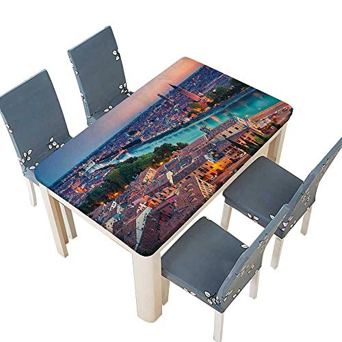 (PINAFORE Polyester Tablecloth Table Cover Verona Italy During Blue Hour Adige River for Dining Room W37.5 x L76.5 INCH (Elastic Edge))
