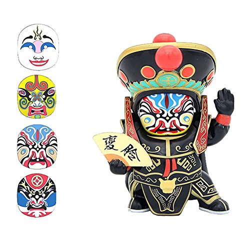 Creative Chinese Sichuan Opera Face Changing Doll Stress Relief Finger Toys as Collection Gift Toy (Black) ()