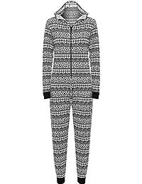 R KON Women Onesie Fashion Printed Playsuit Hooded Ladies Jumpsuit Romper