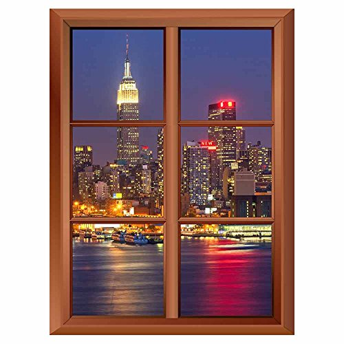 Removable Wall Sticker Wall Mural Manhattan at Night Creative Window View Vinyl Sticker
