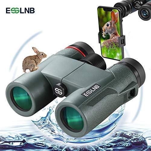 ESSLNB Binoculars 403ft BAK4 Waterproof Binoculars with Phone Adapter 8X FMC Compact Binoculars for Bird Watching Hunting