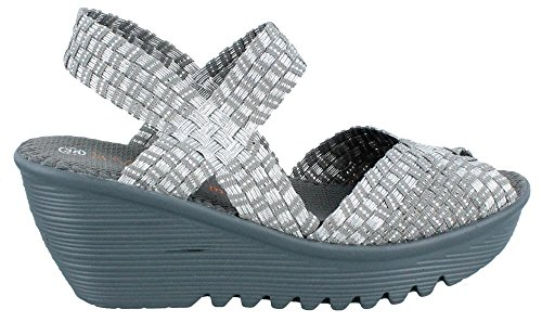 websites cheap online Bernie Mev Women's Fame Wedge Sandal Silver/grey buy cheap sneakernews td8BOrA