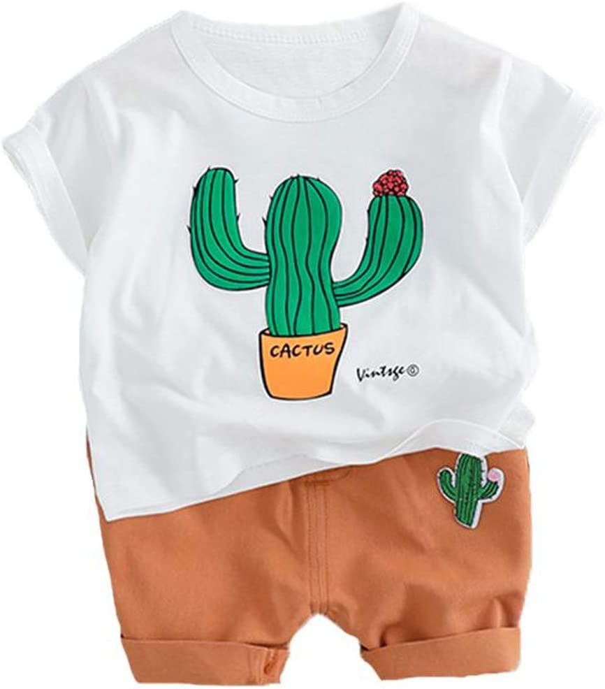 DANDANdianzi Cactus Conjunto T Camisa Cortocircuitos niños Hijos de Vestuario de Verano Pantalones Cortos de niño pequeño Niños Ropa Infantil bebé de los Sistemas Ropa de los Muchachos Traje: Amazon.es: Hogar