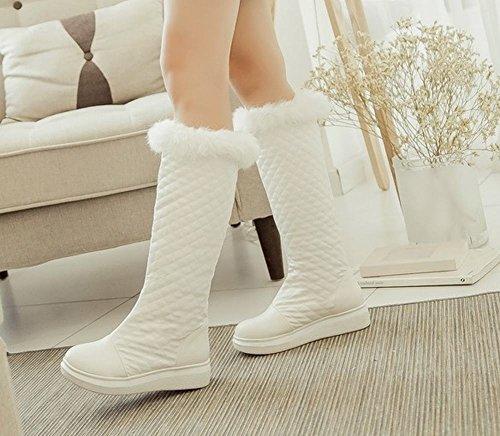 Mee Shoes Damen runde Blockabsatz Pompon warm gefüttert Schneestiefel Weiß