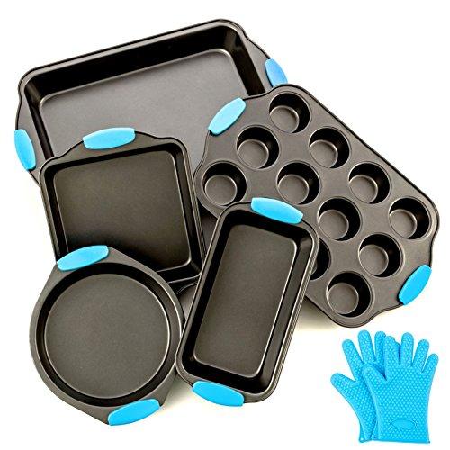 Bakeware-Set-Premium-Nonstick-Baking-Pans-Set-of-5-ligh-Blue-Silicone-Handles-includes-a-Pie-Pan-a-Square-Cake-Pan-Baking-Pan-a-Bread-Pan-Cupcake-Pan