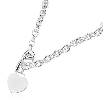 d9c057a6c Image Unavailable. Image not available for. Color: Sterling Silver Heart  Toggle Necklace, 18 Inch