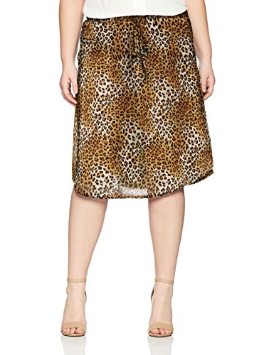 Star Vixen Women's Plus Size Tie-Waist Ity Stretch a-Line Mid-Length Skirt, Leopard Print, 2X (Stretch Skirt Leopard)