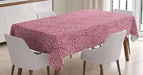 Ambesonne Animal Print Decor Tablecloth, Animal Print Leopard Skin Pattern Girly Design Trendy Decorating Illustration , Rectangular Table Cover for Dining Room Kitchen, 60x84 Inches, Pink -