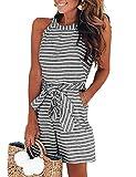 DUBACH Women Casual Striped Sleeveless Short Romper Jumpsuit L Gray