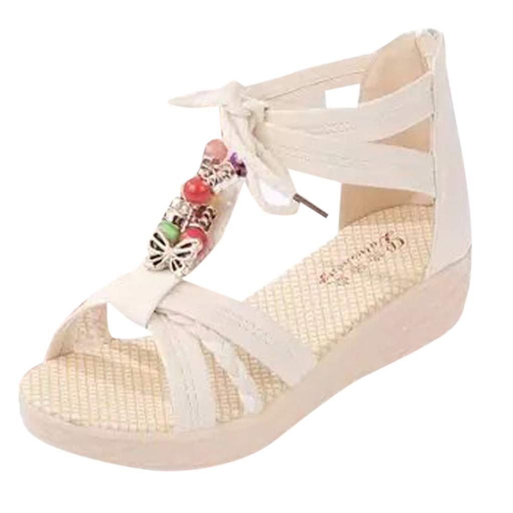 refulgence Women Outdoor Sandals,Women's Flat Sandal Ankle Strap Summer Shoes(Beige,US=5.5