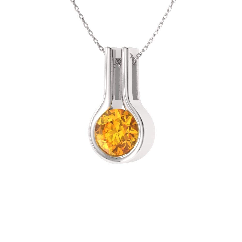Diamondere Natural and Certified Gemstone Solitaire Necklace in 14k White Gold 0.4 Carat Pendant with Chain AQUINAH/_BT