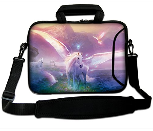 Unicorn Laptop Case Neoprene for 17 inch Macbook Pro Air Dell HP Lenovo Acer Waterproof Horse Notebook Sleeve Computer Shoulder Carrying Bag with Pocket for i-pad mouse (17