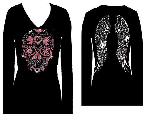 Sugar Skull Angel Wings Rhinestone Womens V Neck Long Sleeve Tee Shirt (3X)