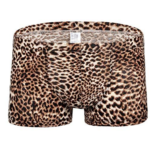 Bestoppen Men's Beach Shorts Quick Dry Swimwear Pocket Leopard Print Sexy Low Waist Flat Angle Surf Water Sports…