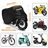 Motorcycle Scooter Cover Waterproof Outdoor - Large Medium XL 250cc 150cc 50cc Scooter Shelter for Harleys All Weather Motorbike Protection with Lock Holes Tear-proof Heavy-Duty