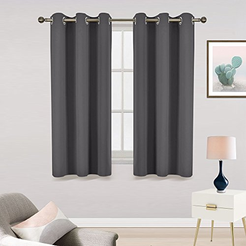 Bedroom Window Treatments Curtain Panels - RYB HOME Room Darkening Drapes Sunlights Block Insulated Noise Reducing With 6 Sliding Grommets Resistant Curtains ( Set of 2, W 42 x L 63 Inch, Grey)
