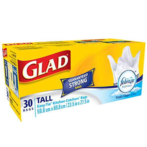 Glad Kitchen Catchers White Garbage Bags with Febreze Freshness, Easy-Tie Flaps, Tall, 30 Bags