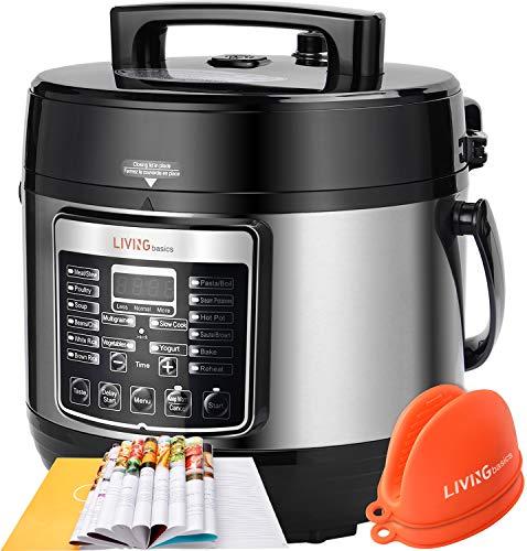 Electric Pressure Cooker 5 Qt Pressure Pot, Multifunctional 16-in-1 Rice Cooker, Slow Cooker, Yogurt Maker, Cake Maker, Sauté, Steamer, Sterilizer - LIVINGbasics (1000W, 100kPa, 3-6 People)