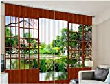 Wapel Garden View Luxury 3D Curtains Drapes Custom Living Room Bed Room Window Curtains Office Hotel Home Wall Tapestry 240X400CM