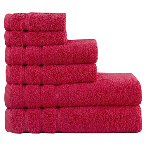 Comfort Realm Ultra Soft 6 Piece Towel Set, Combed Cotton 600 GSM 100 Percent Cotton, 2 Bath Towels, 2 Hand Towels, 2…