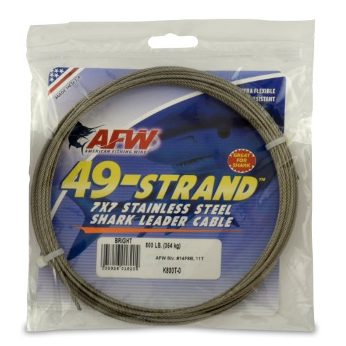 American Fishing Wire 49-Strand Cable Bare 7x7 Stainless Steel Leader Wire, Bright Color, 800 Pound Test, 30-Feet