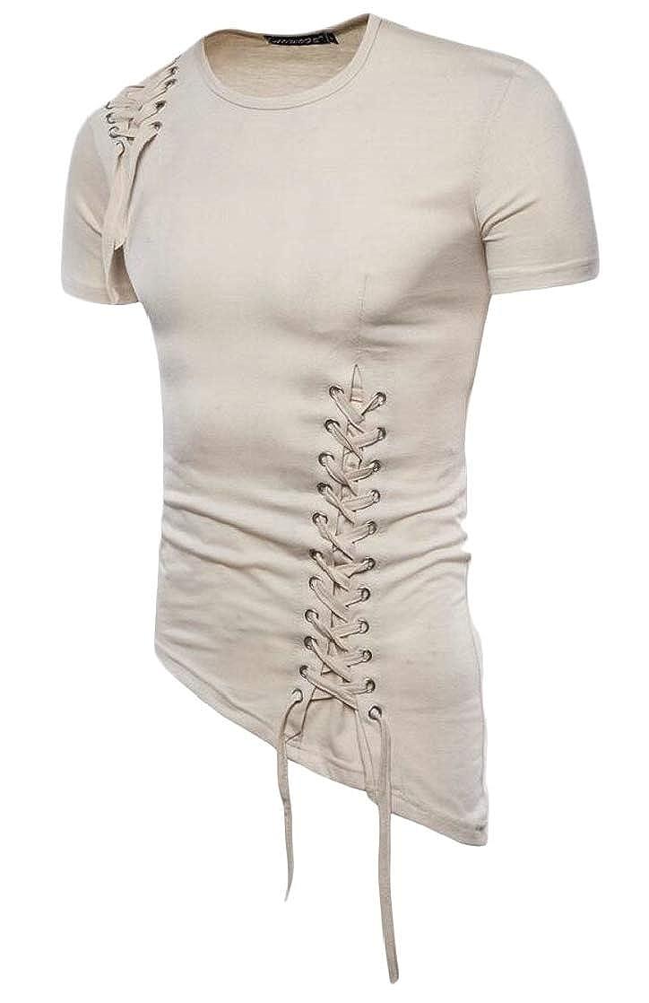Joe Wenko Mens Eyelet Slim Fit Irregular Short Sleeve Lace Up Top Tee T-Shirts