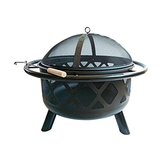 """Peaktop CU296 Round Steel Charcoal Wood Burning Fire Pit Bonfire with Spark Screen and Fireplace Poker for Outdoor Patio Garden Backyard Decking, 30.0"""", Black - Featured with CSA certified burner. Built for charcoal and wood burning. The decorative fire pit integrate into your patio décor while the design structure ensures long term durability. Carefully made to provide you and all of your guests with warmth for those Unforgettable summer nights. Includes a poker and spark screen. A grilling grate is not included. - patio, outdoor-decor, fire-pits-outdoor-fireplaces - 51k1qvLvSrL. SS570  -"""