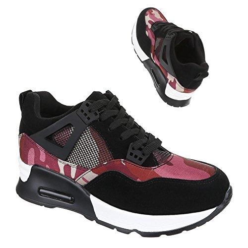 Ital-Design - Zapatillas de Material Sintético para mujer Negro - Schwarz Rot