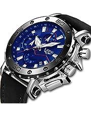 LIGE Montres Hommes Mode Étanche Cuir Analogique Quartz Montre Hommes Chronographe Sport Grand Cadran Militaire Montre-Bracelet
