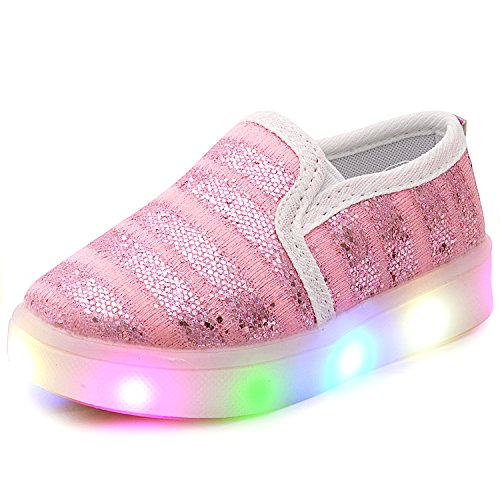 (UBELLA Girl's Light Up Sequins Slip On Loafers Flashing LED Casual Shoes Flat Sneakers (Toddler/Little Kid))