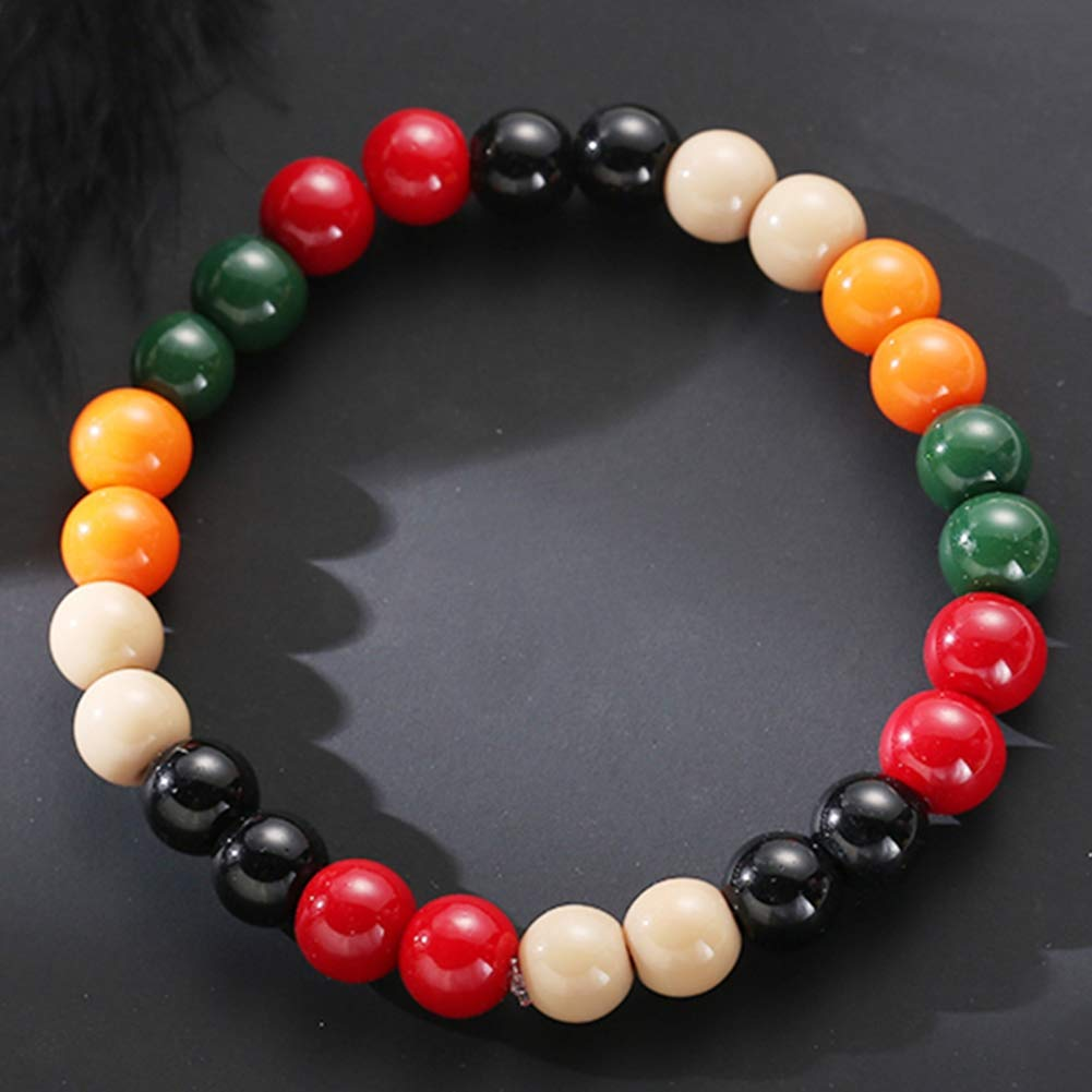 Pinksee Beads Beaded Bracelet Stretch Colored Wooden Beads Bracelets Unisex