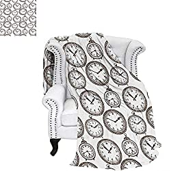 WilliamsDecor Clock Digital Printing Blanket Vintage Pocket Watch with Numbers on It Antique Design Chronometers Old Fashioned Print Custom Design Cozy Flannel Blanket 90x70 Brown