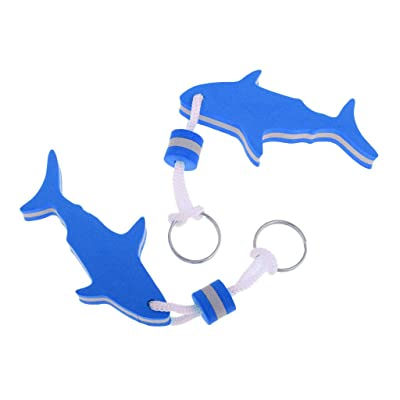 NATFUR 2Pcs EVA Foam Floating Keychain Marine Boat Kayak Keyring Buoy - Shark Shape Pretty for Women Perfect for Girls for Gift Elegant Pretty Beauteous | Color - Blue : Garden & Outdoor