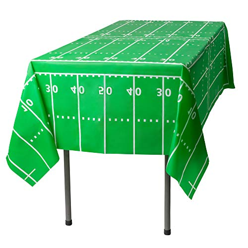 8' Dinner Bowl - Football Field - Super Bowl Party 6 Pack Premium Disposable Plastic Tablecloth 54 Inch. x 108 Inch. Rectangle Table Cover By Grandipity