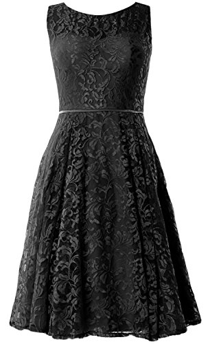 MACloth Women Lace Cocktail Dress Vintage Knee Length Wedding Party Formal Gown Negro