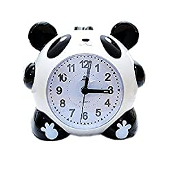 Kangkang@ Animal Creative Panda Small Night-light Alarm Clock with Loud Alarm(Round,Black)