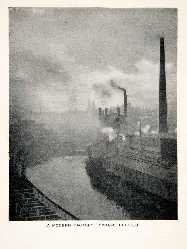1928 Language Factory Town Sheffield England River Cityscape Reginald Belfield - Original Halftone Print