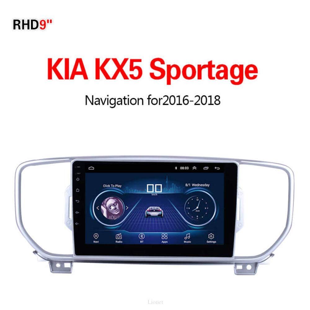 Lionet GPS Navigation for Car KIA Sportage 2010-2015,9 Inch Android 8.1 WIFI 1G//16G In Dash GPS Navigation Lifetime Map Vehicle GPS Navigator Radio HIFI,Bluetooth