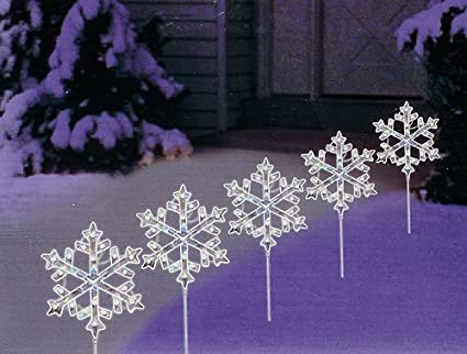 set of 5 lighted holographic snowflake christmas pathway markers clear lights