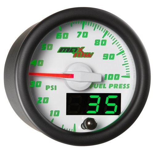 MaxTow Double Vision 100 PSI Fuel Pressure Gauge Kit - Includes Electronic Sensor - White Gauge Face - Green LED Illuminated Dial - Analog & Digital Readouts - for Trucks - 2-1/16